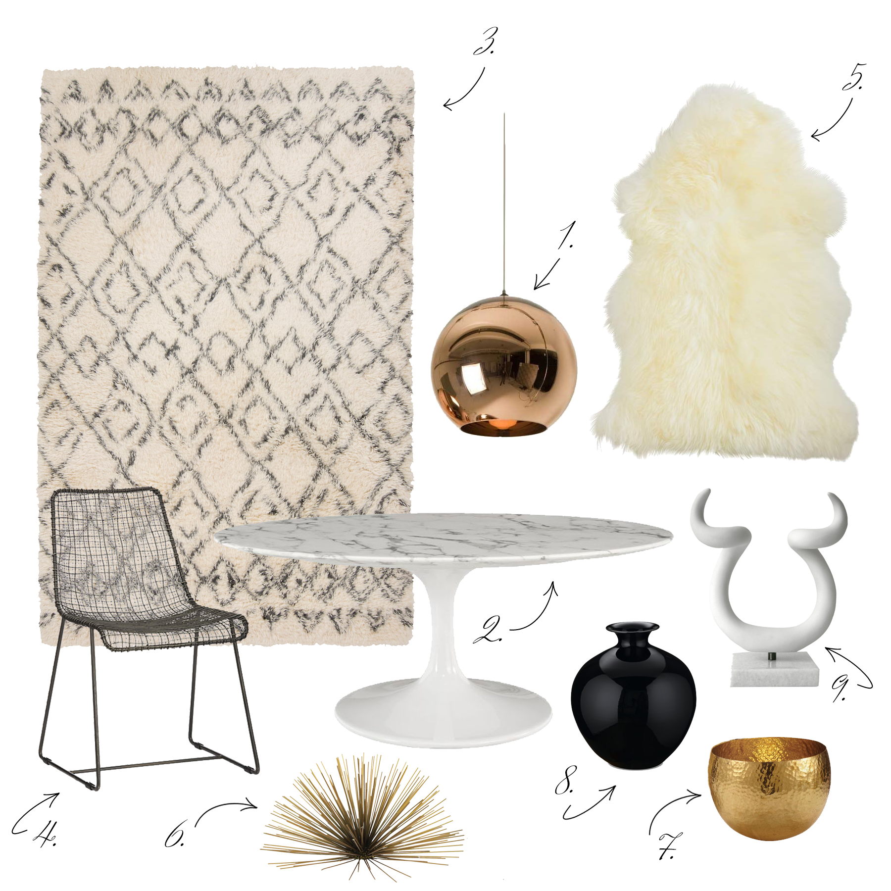 1.  Light    2.  Table    3.  Rug    4.  Chairs    5.  Throw    6.  Brass Urchin    7.  Brass Bowl    8.  Vase    9.  Horns