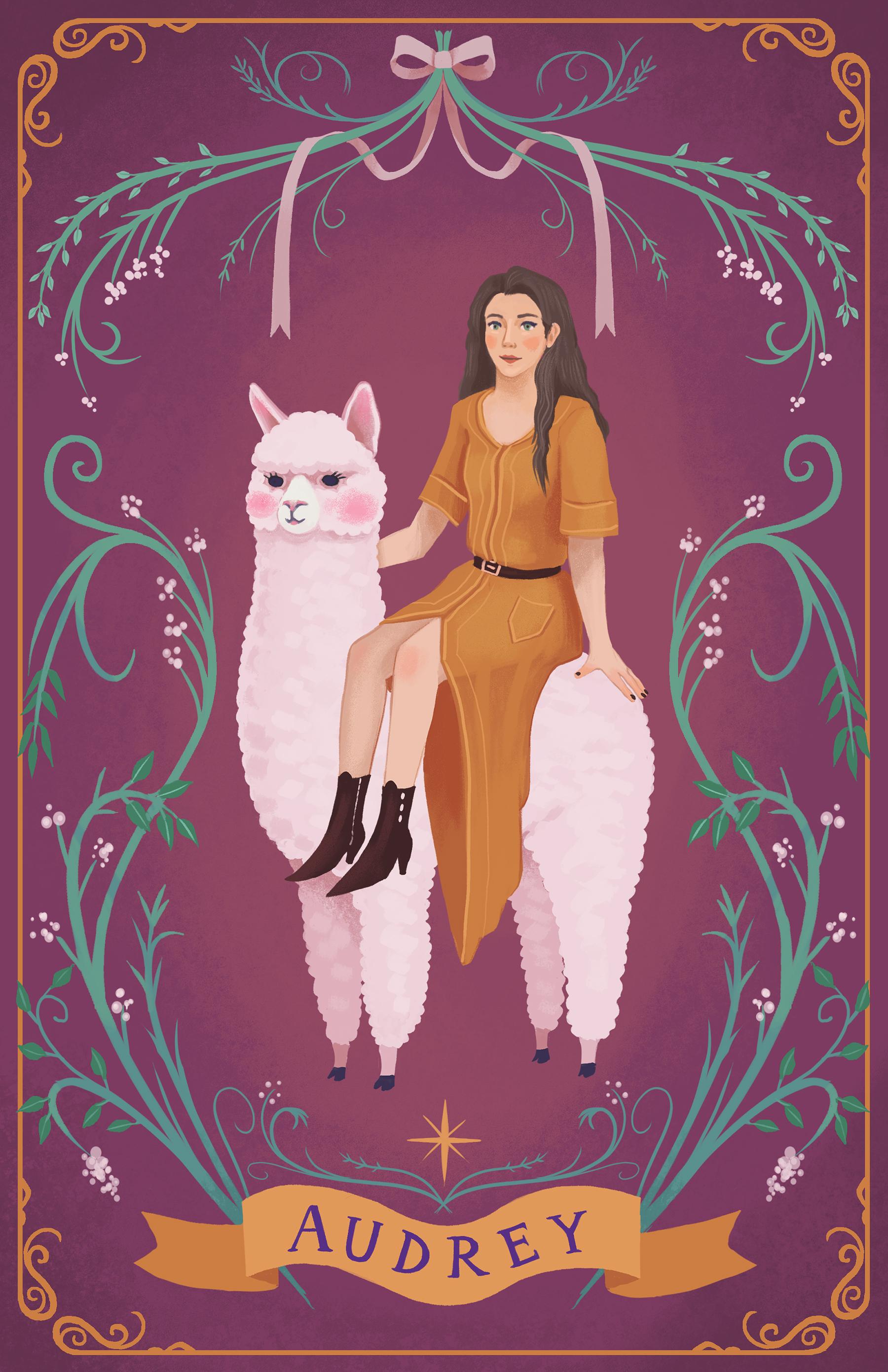 Audrey - A commissioned portrait of Audrey riding an alpaca.