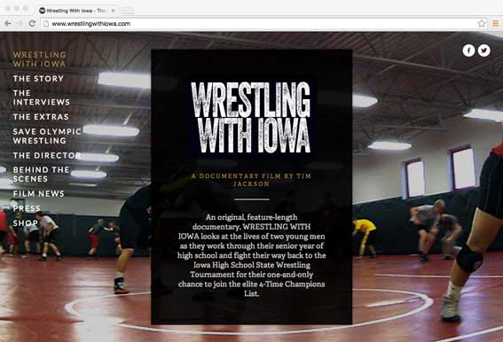 Click on the website page to go to the WRESTLING WITH IOWA project website, featuring interviews, behind-the-scenes and more information about the wrestlers and the film.