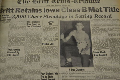 A copy of the March 1, 1962, Britt News Tribune shows Britt wrestler Bob Steenlage on the front page.