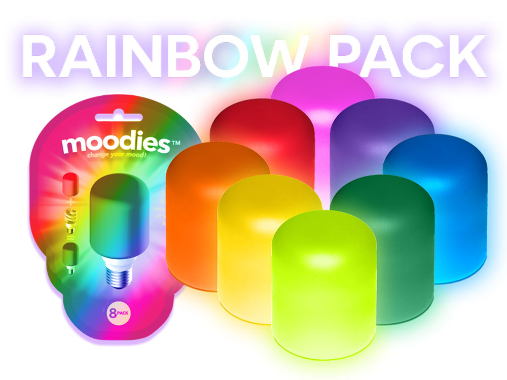 Moodies Rainbow 8 Pack comes with heat-safe silicone covers in Purple, Red, Pink, Orange, Yellow, Lime Green, Green and Blue.