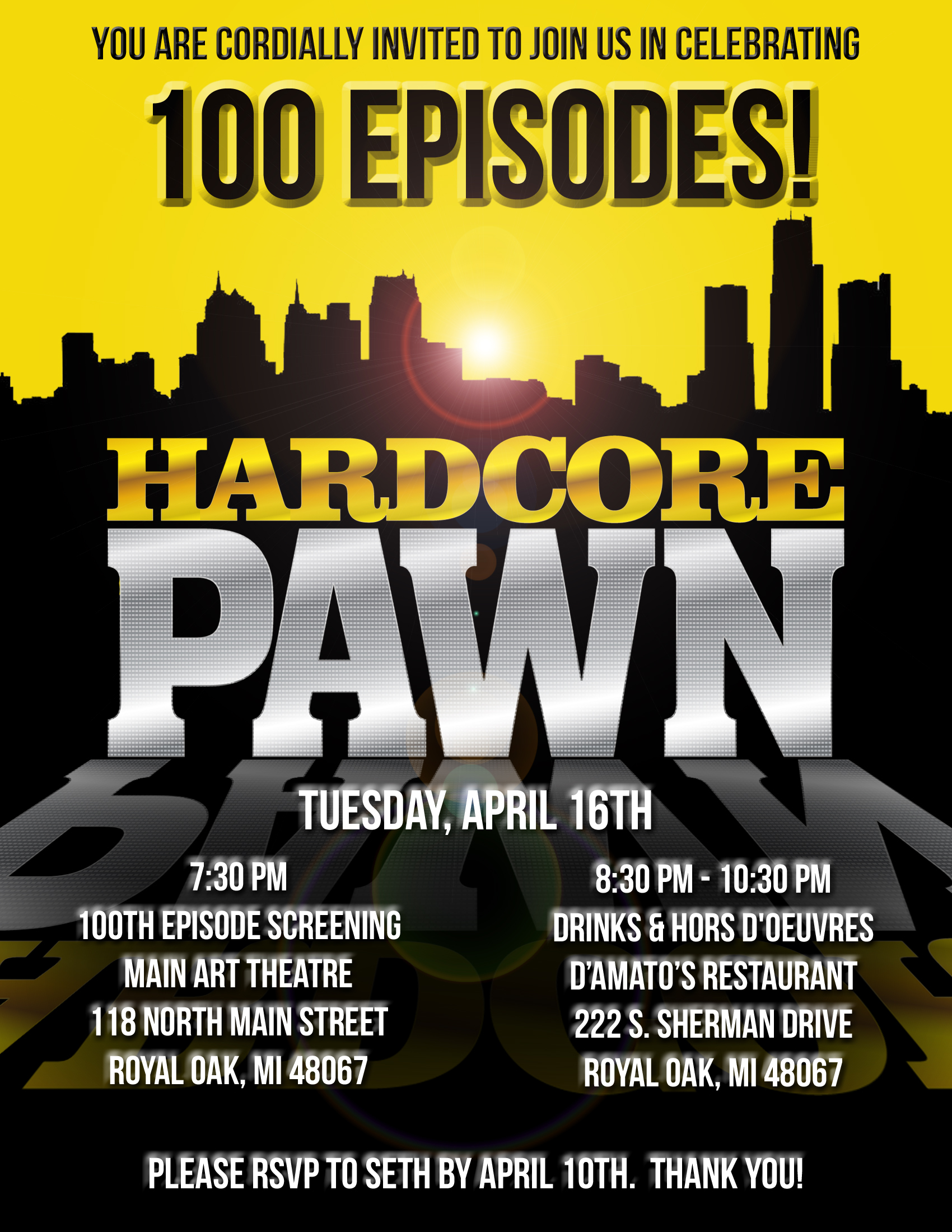 "PARTY INVITATION FOR THE 100 EPISODE CELEBRATION OF TRUTV's ""HARDCORE PAWN"""