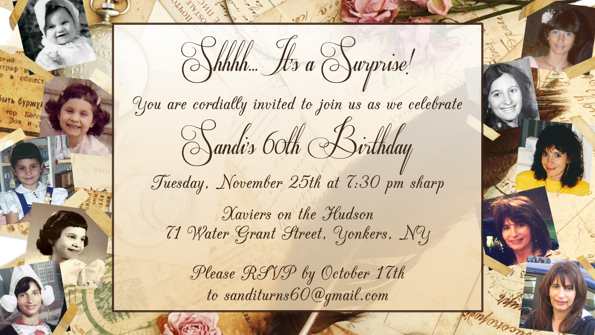 INVITATION TO SURPRISE 60TH BIRTHDAY PARTY