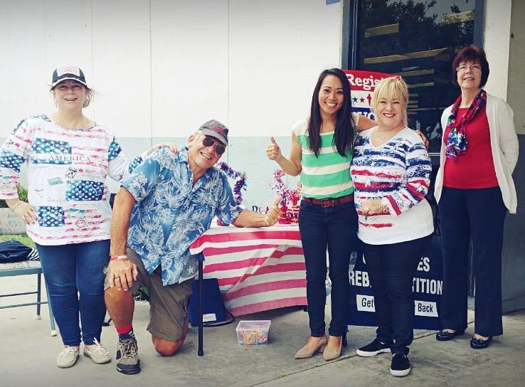 Cynthia Thacker, Jon Paul White, and Amy West registering Republican voters at the DMV in Westminster, CA