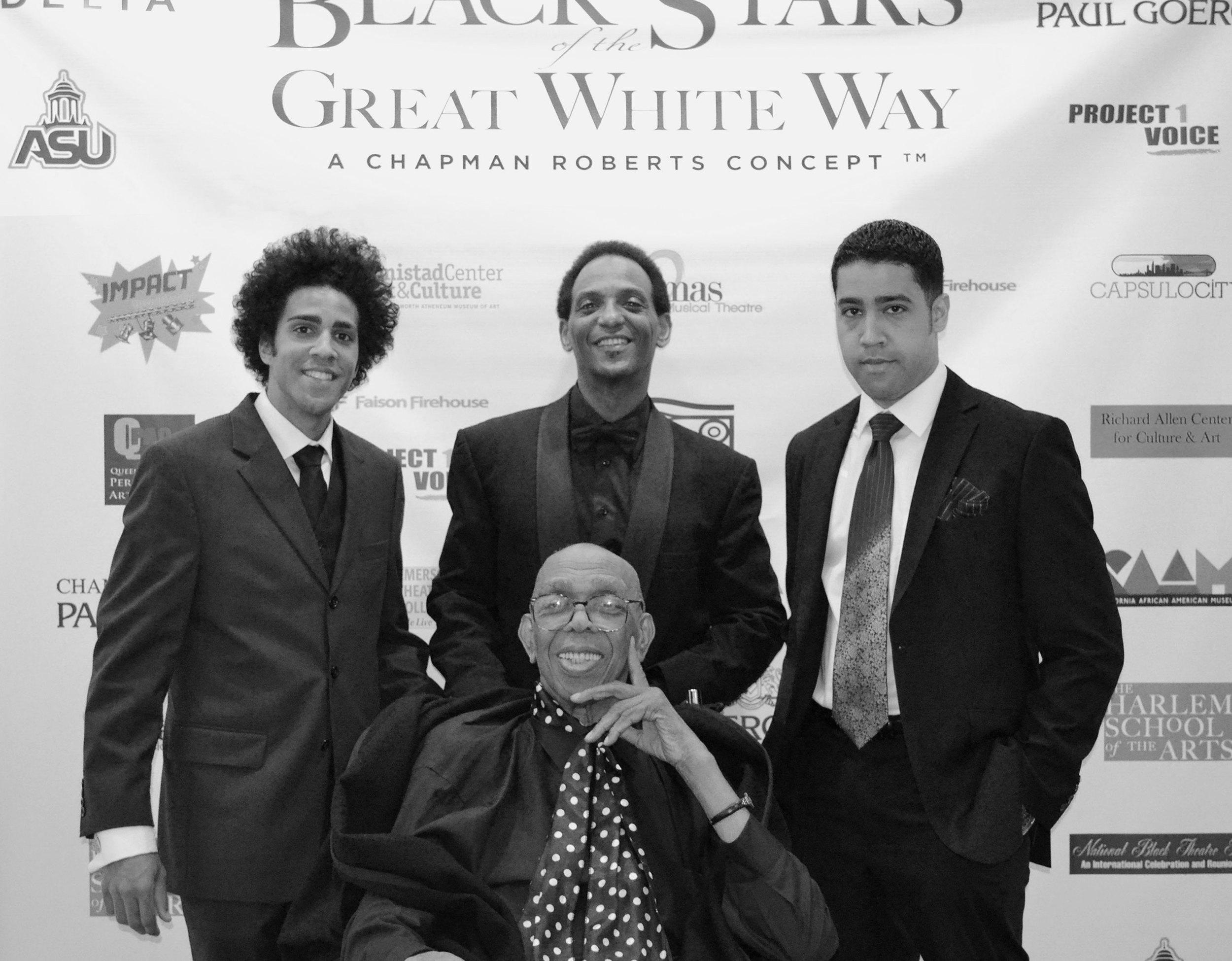 center: Geoffrey Holder | right to left: Roger Derrick, Franklin West and Edmund Derrick