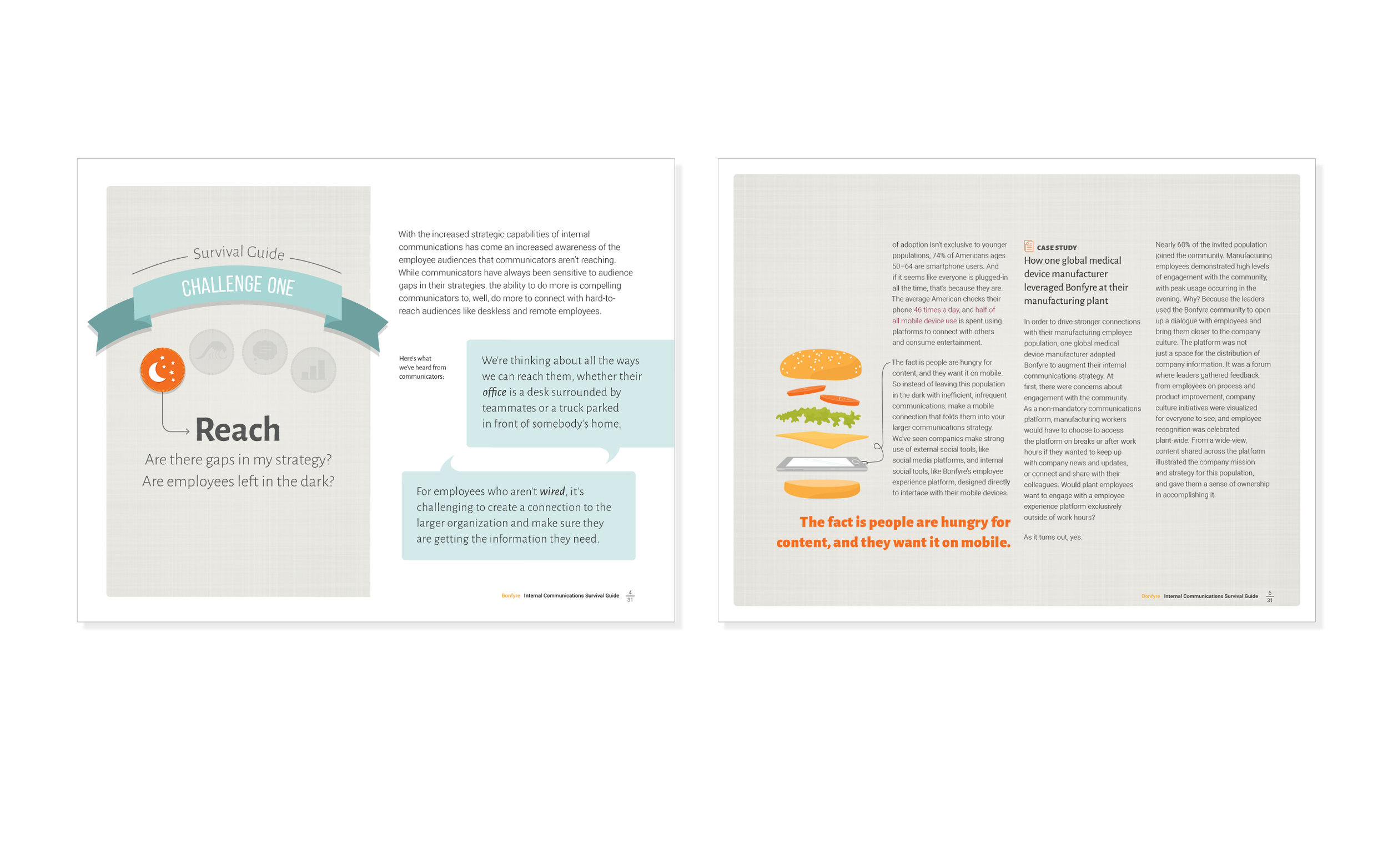 Editorial Design  Creation of a 30+ page thought-leadership piece that successfully drives lead generation. Work included creative direction, concept development, design and page layout. Developed as part of the collaborative team at  Bonfyre .