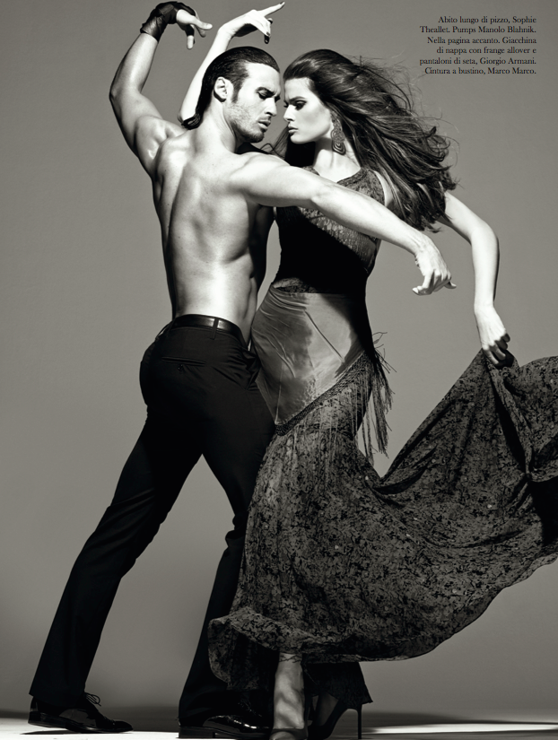 Isabeli Fontana and Timo Nuñez, photo Steven Meisel, styled by Carlyne Cerf de Dudzeele - Vogue Italia - August 2014