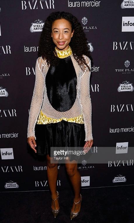 Corinne Bailey Rae wearing sophie theallet Harpers bazaar Icons party 2016.jpg