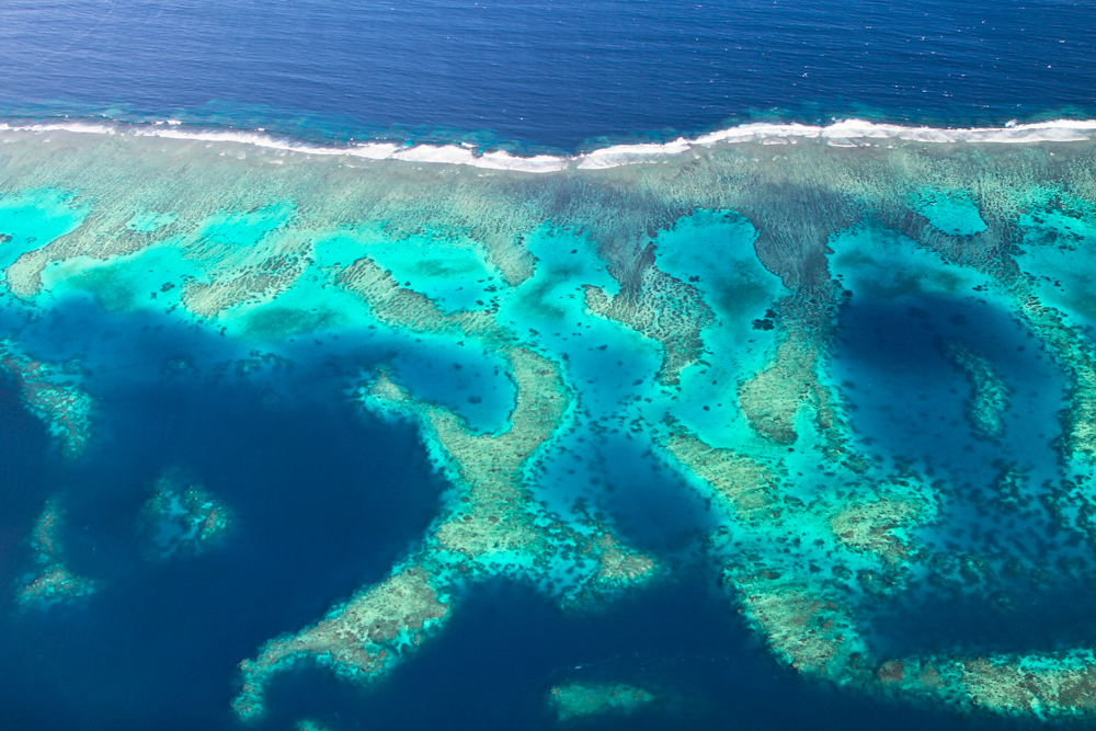 Flying over the atolls of the South Pacific   — Fiji
