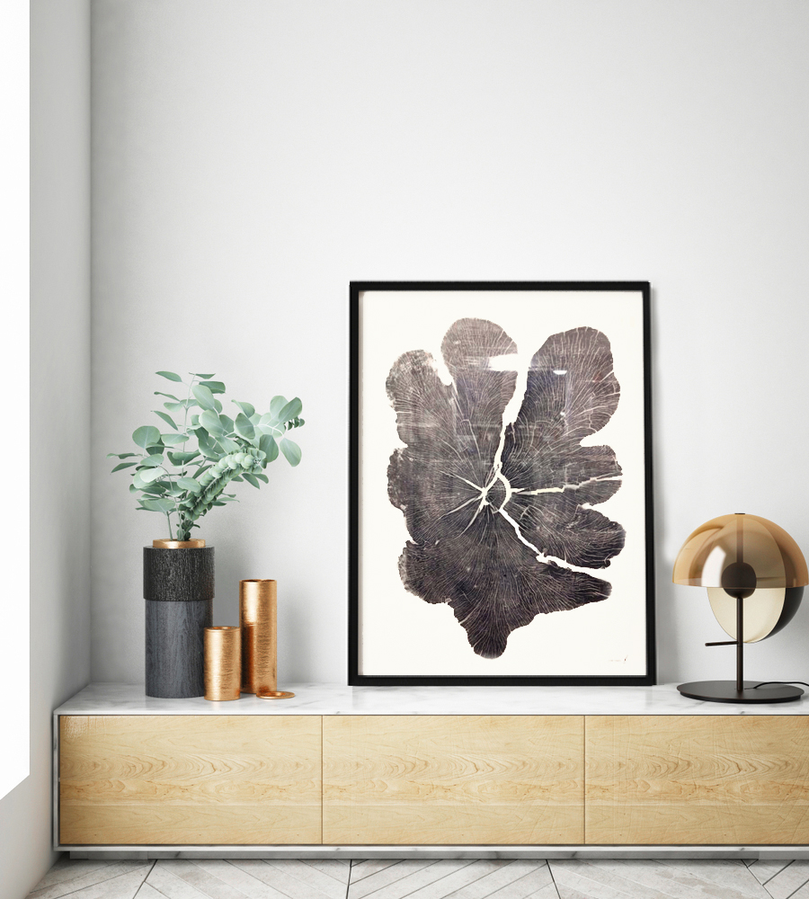 Lobe Maple  40x60in; Limited Edition /20 Huge Maple printed on Japanese Kozuke Ivory paper in black relief ink. The log was obtained from Legacy Lumber in Erin, Ontario.