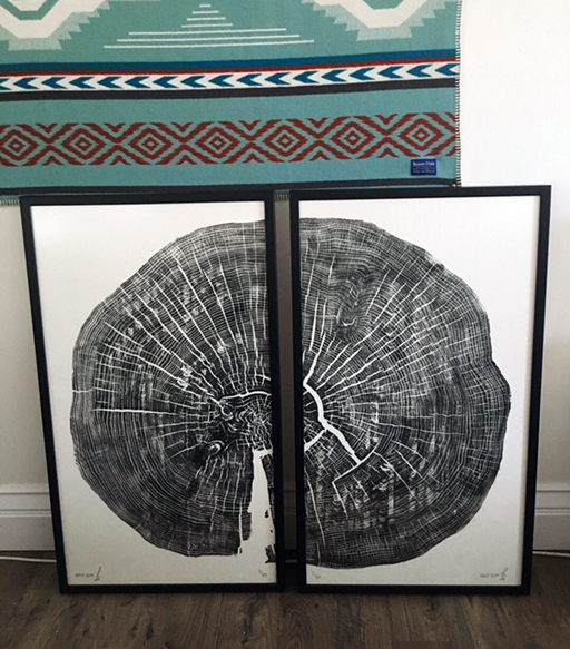 East Elm / West Elm Diptych  20x36in; Limited Edition /20 Elm printed on Japanese Kozuke Ivory paper in black relief ink. The log was obtained from Canadian Woodworks in Erin, Ontario.