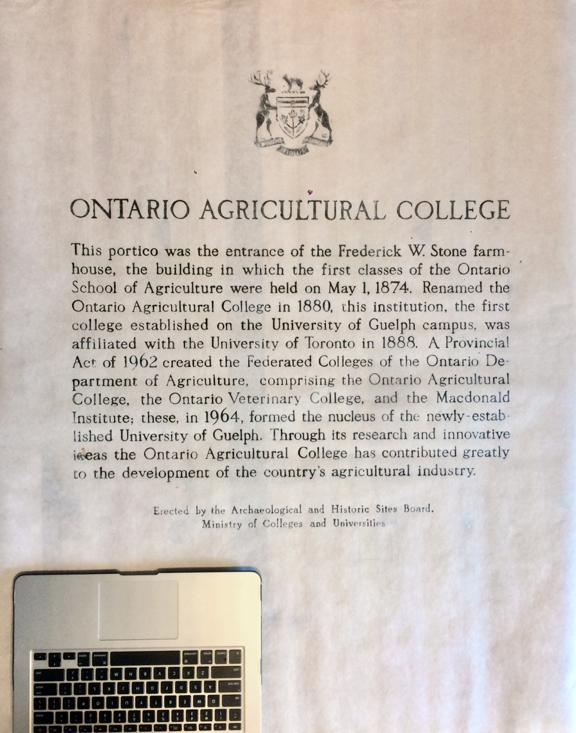 Ontario Agricultural College Relief  30x30in Bronze plaque printed on Japanese Kozuke Ivory paper in black relief ink.