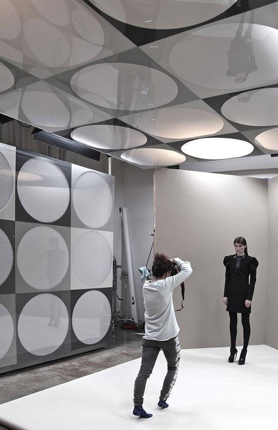 Claudia Goetzelmann working on set in the Blue Sky LightGrid for designer Camelia Skikos.