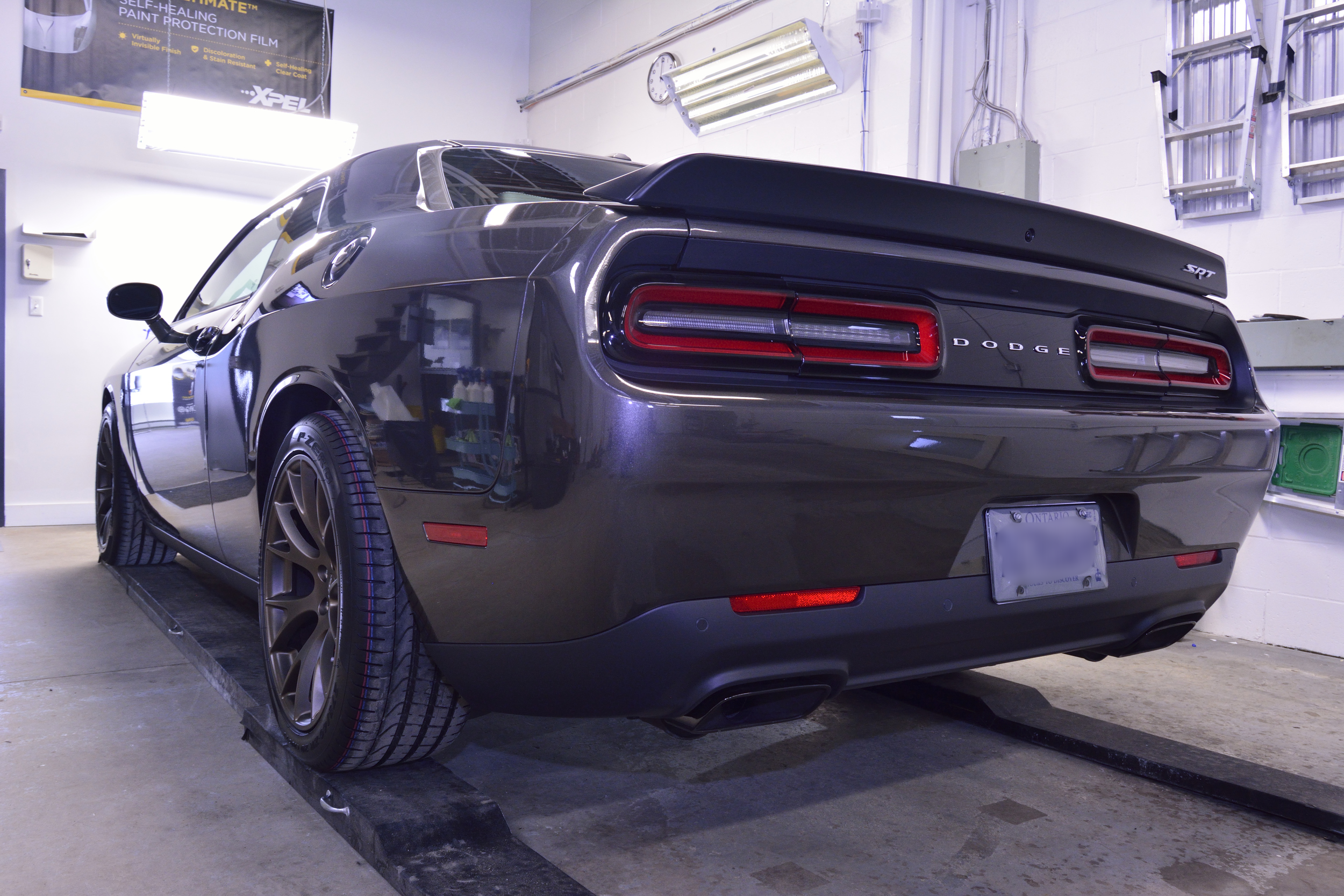Dodge Challenger Hellcat New Vehicle Prep with 22PLE Glass Coating Protection  + XPEL Ultimate PPF Installation + Satin Black Hood Wrap