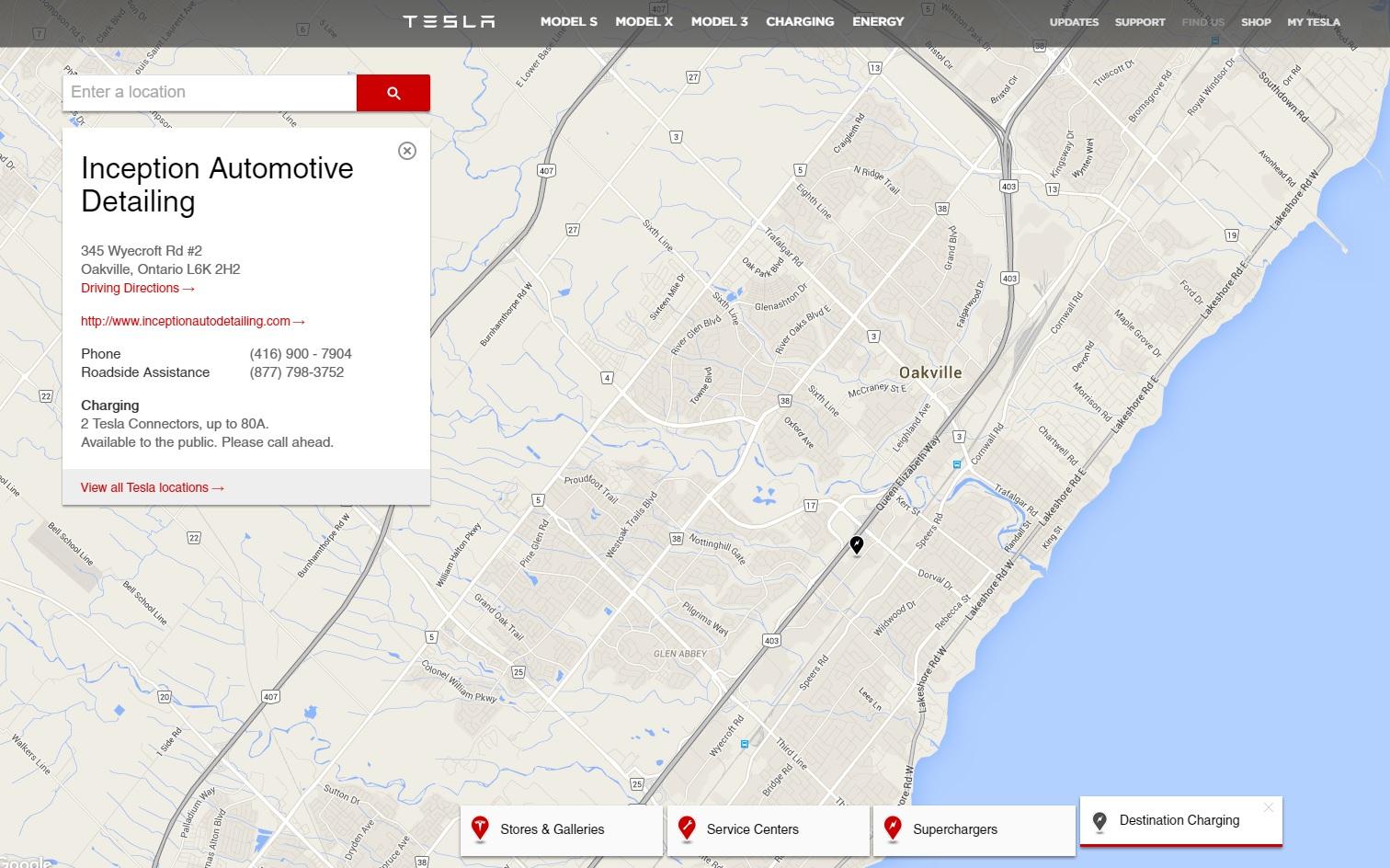 Tesla Destination Charging Inception Auto Detailing