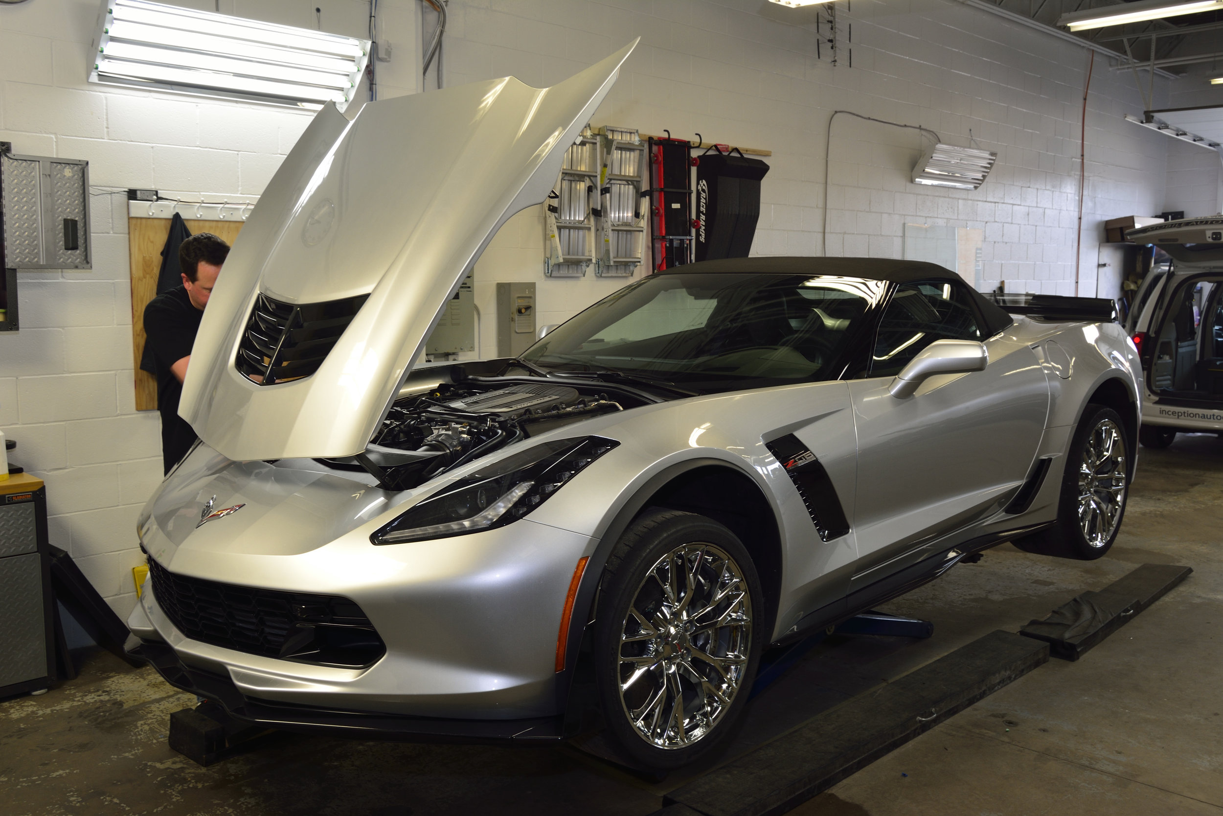Chevrolet C7 Corvette New Vehicle Prep with 22PLE Glass Coating Protection + XPEL Ultimate PPF Installation on the entire front end of the vehicle + XPEL Prime XR Window Tints