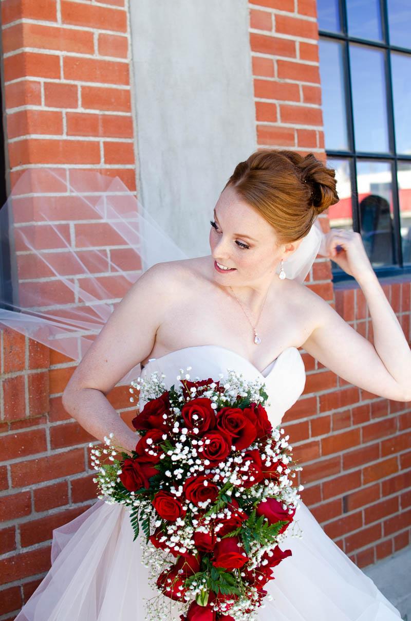 brick architecture bridal portrait