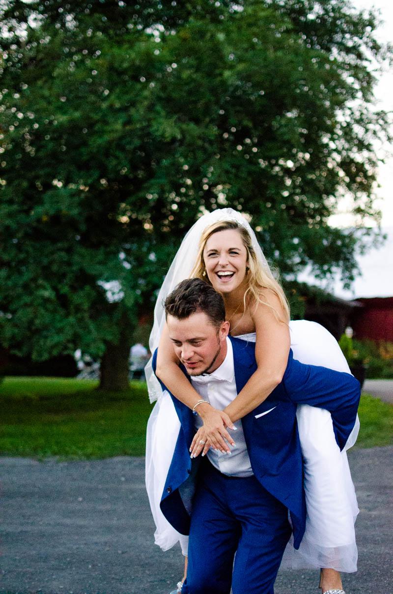 just married piggyback portrait