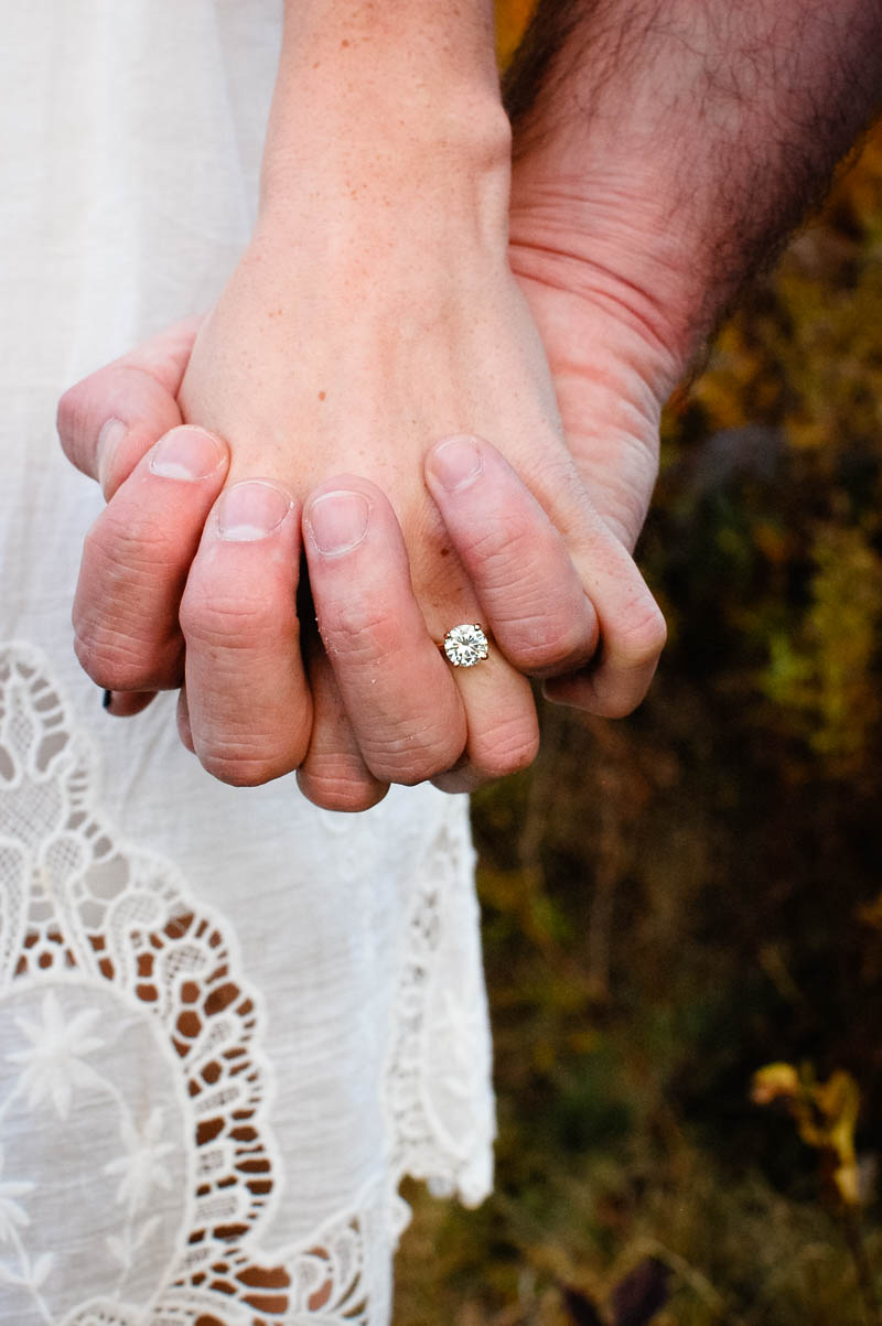 fall engagement ring portrait