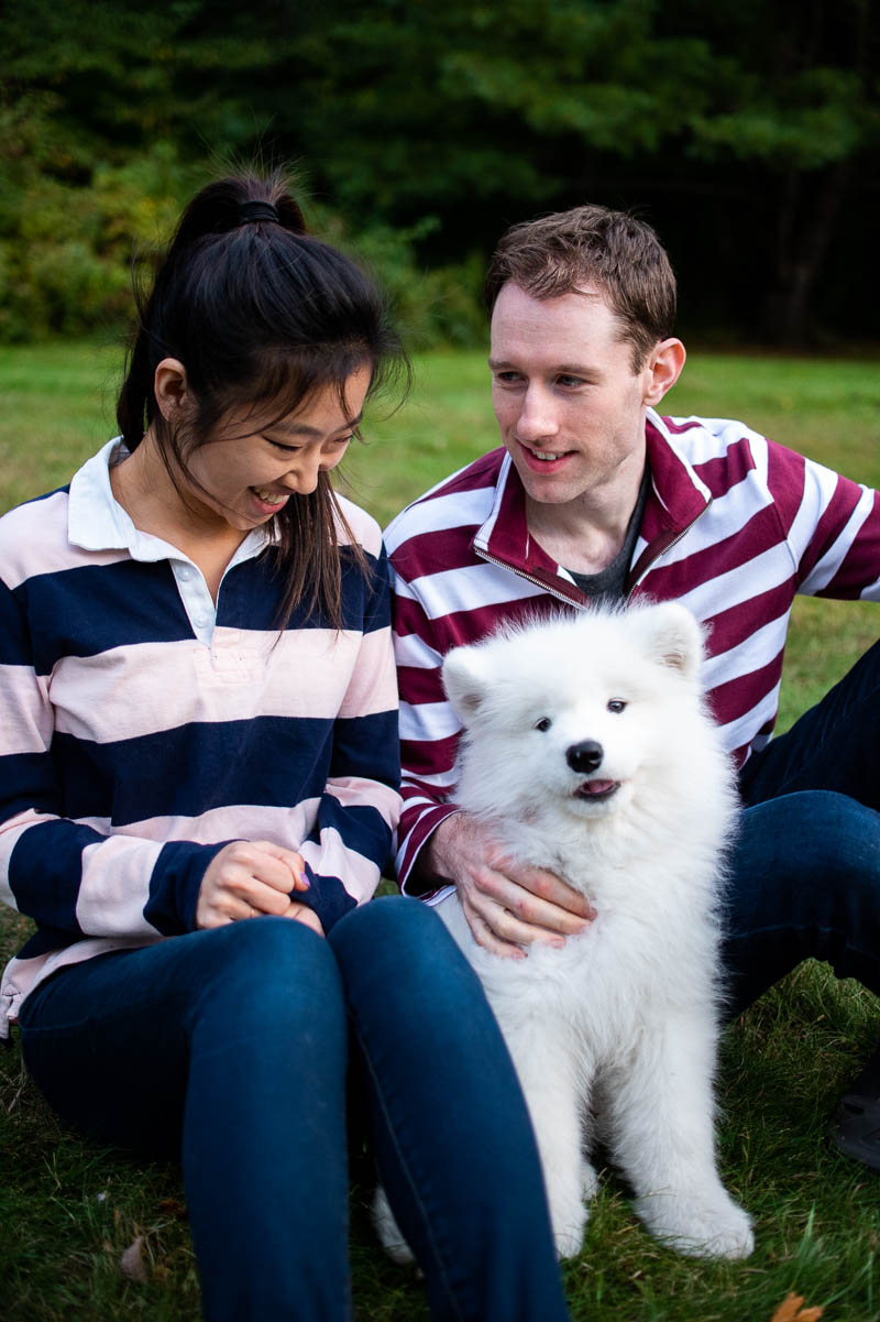 vermont backyard engagement photos with fluffy dog
