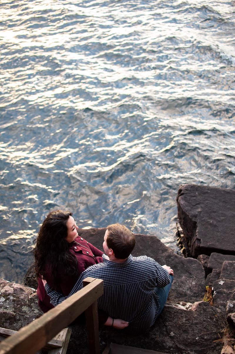 lake champlain cliffside engagement photos