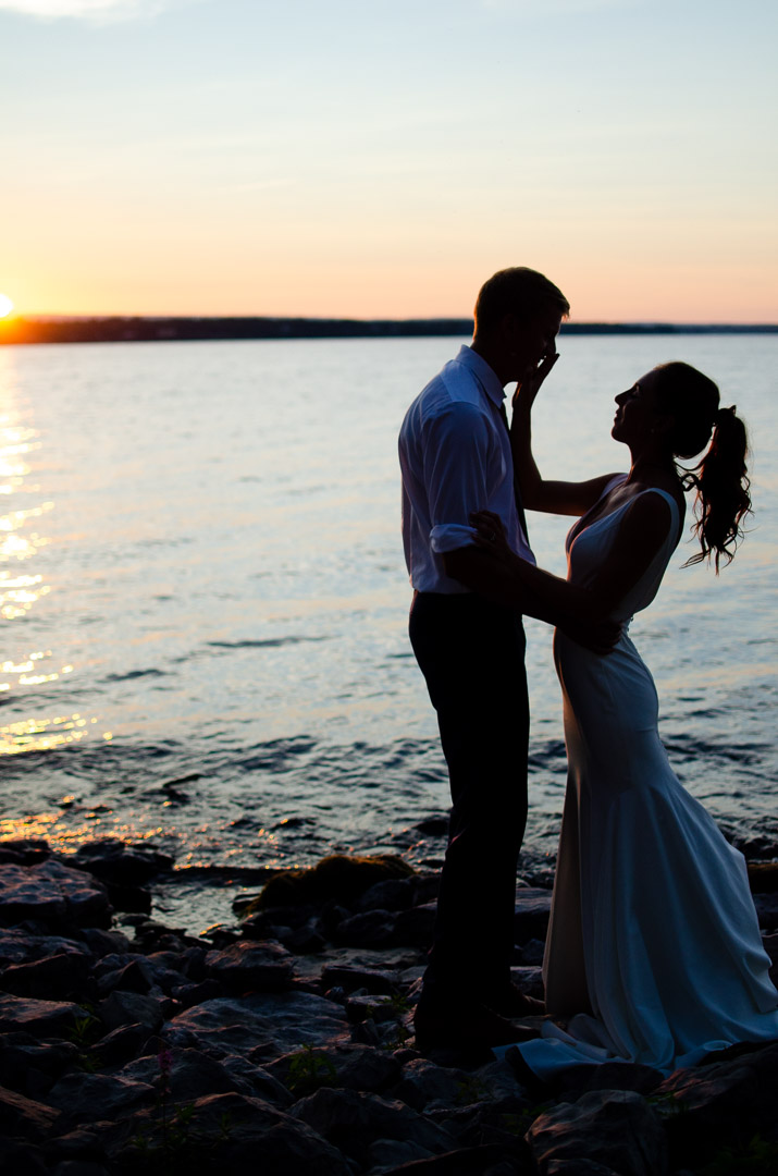 just married sunset couples portrait