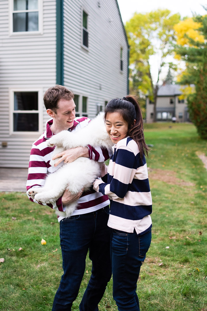 couples and puppy portrait homeowners