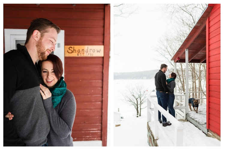 lake dunmore engagement at a snowy cabin