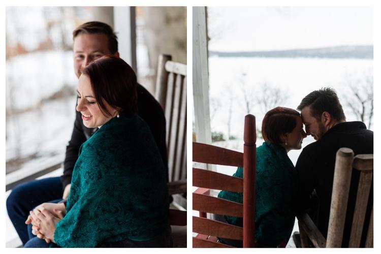 winter vermont porch engagement portraits