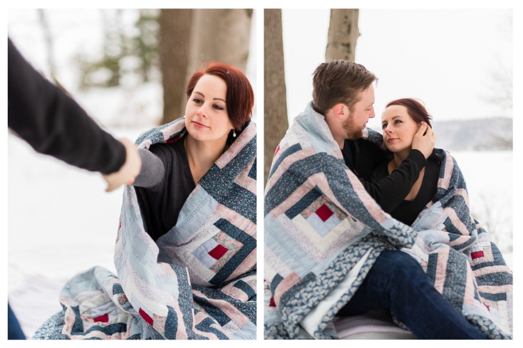 vermont outdoor winter engagement portrait session wrapped in a blanket
