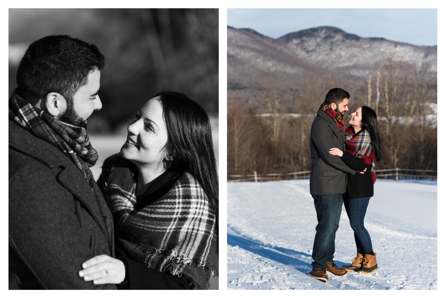 outdoor winter engagement session