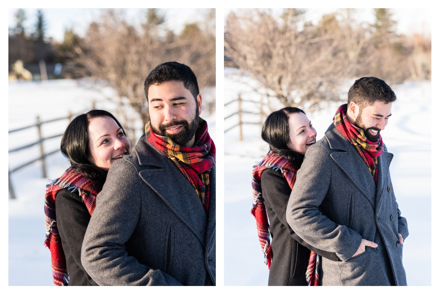 vermont snowy winter engagement