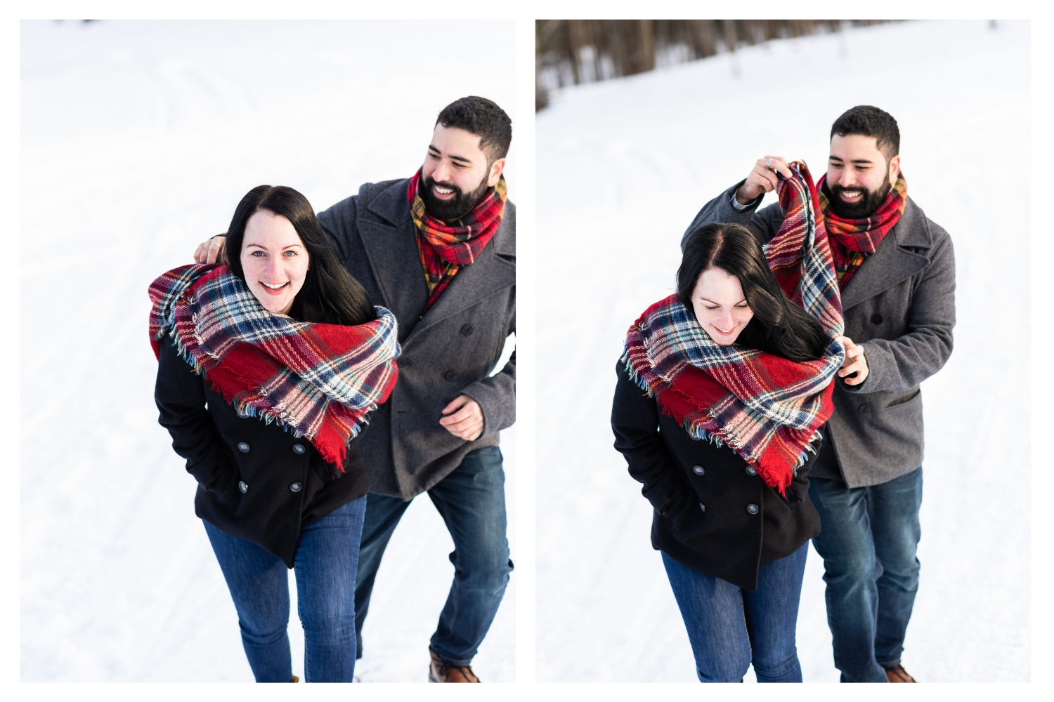 vermont scarf couples portrait
