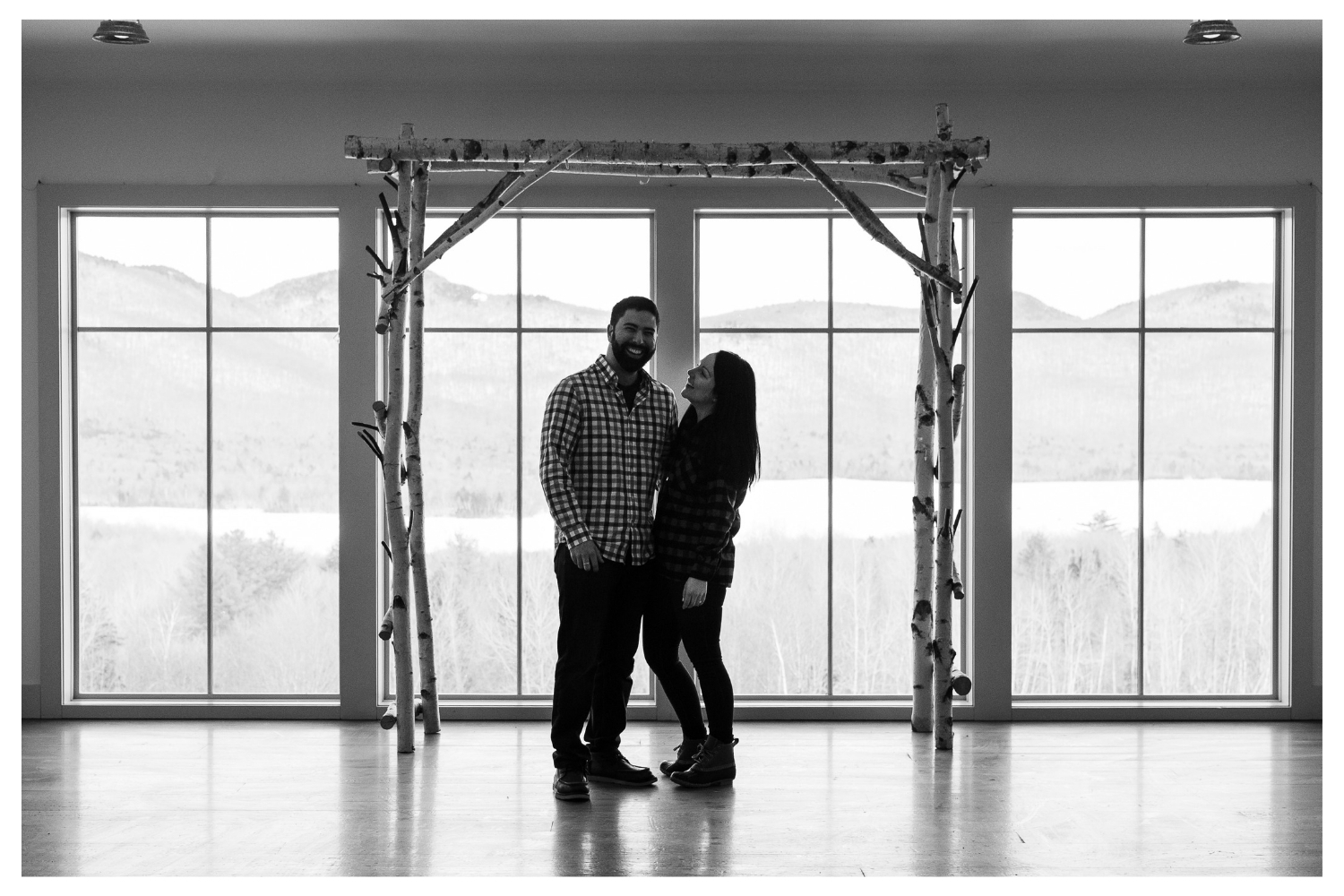 vermont winter couples portrait mountaintop inn
