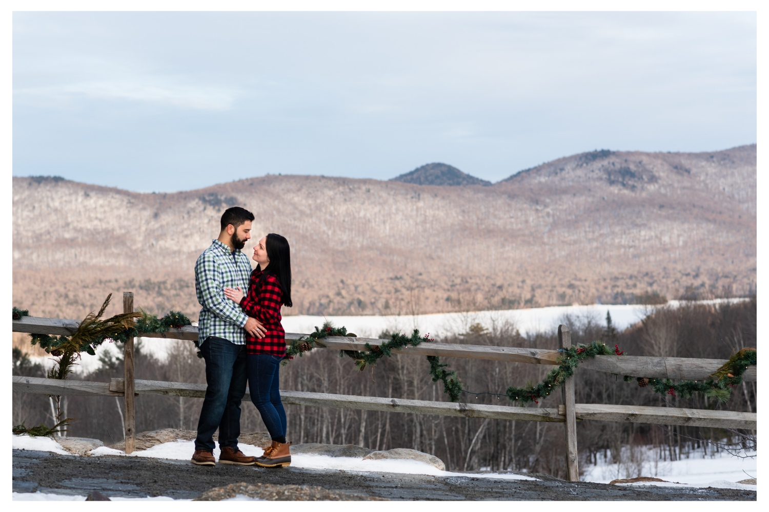 vermont winter couples mountainside engagement
