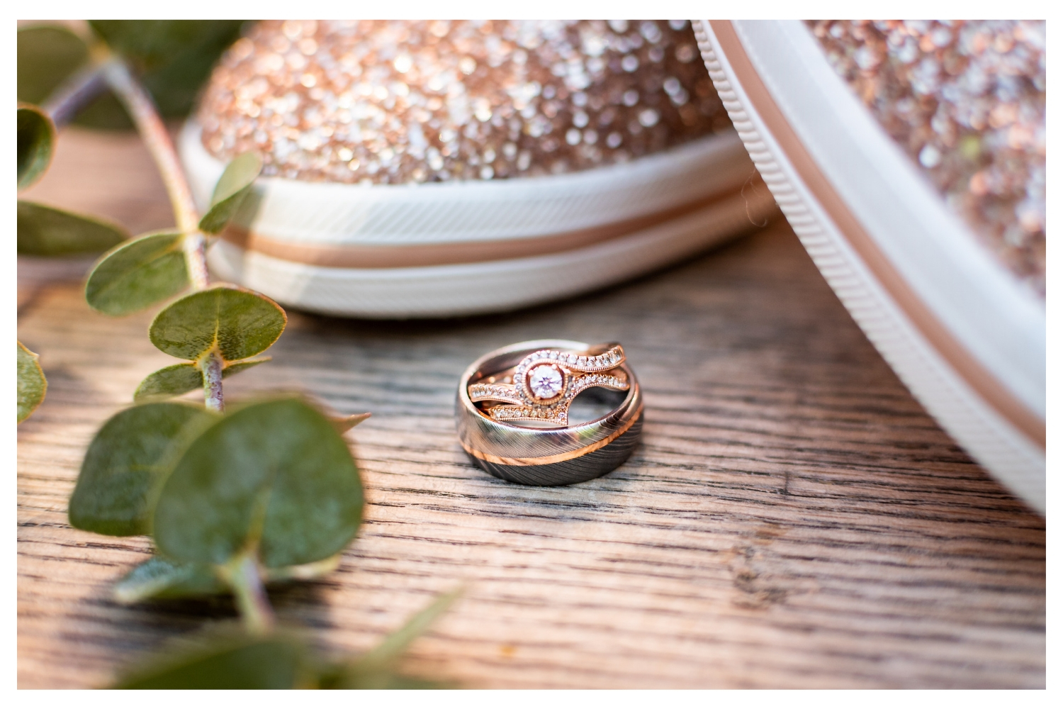 rose gold wedding ring and wedding converse