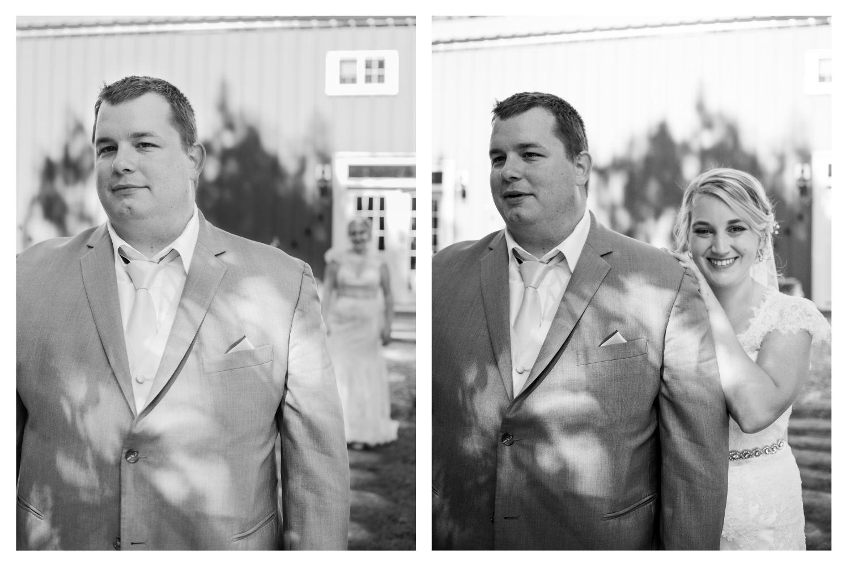 first look bride behind the groom