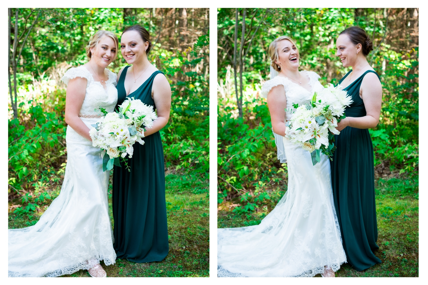 bride with laughing bridesmaid