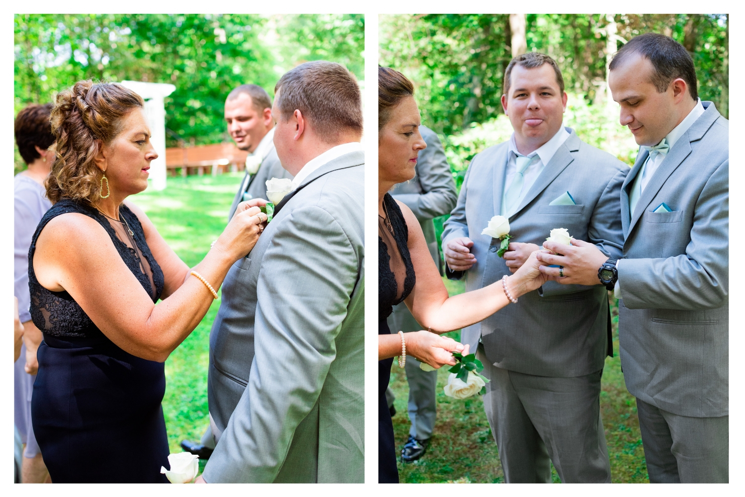 mother of the bride pinning boutonniere on groom