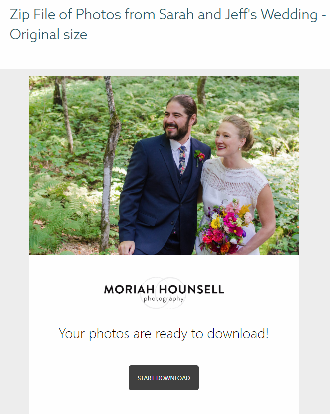 When you want to store multiple images, you'll receive an email with a link to download