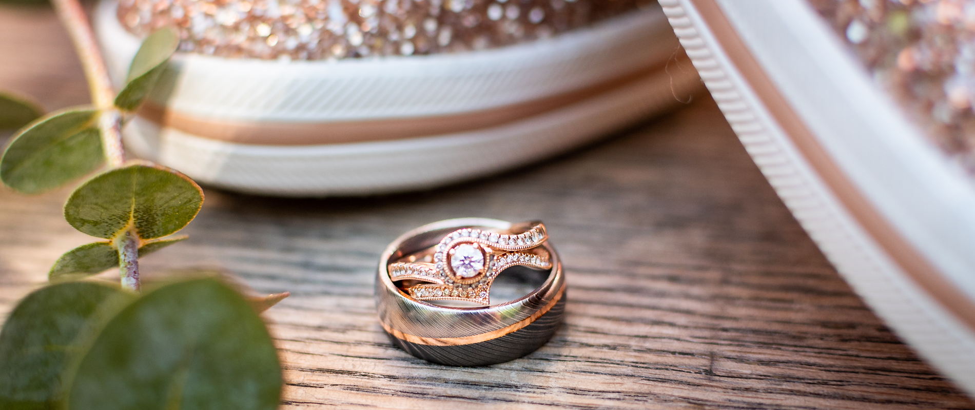 wedding rings outdoor rose gold