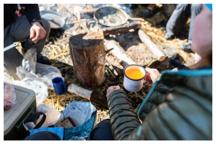 tang and tea by the campfire