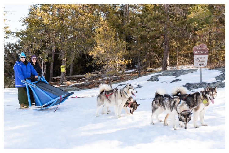 group photo at the boundary waters with a sled dog team