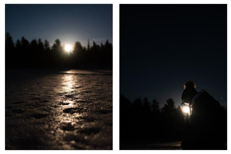 frozen lake night portraits