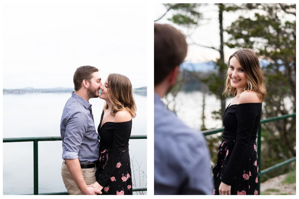 couples portraits by lake champlain