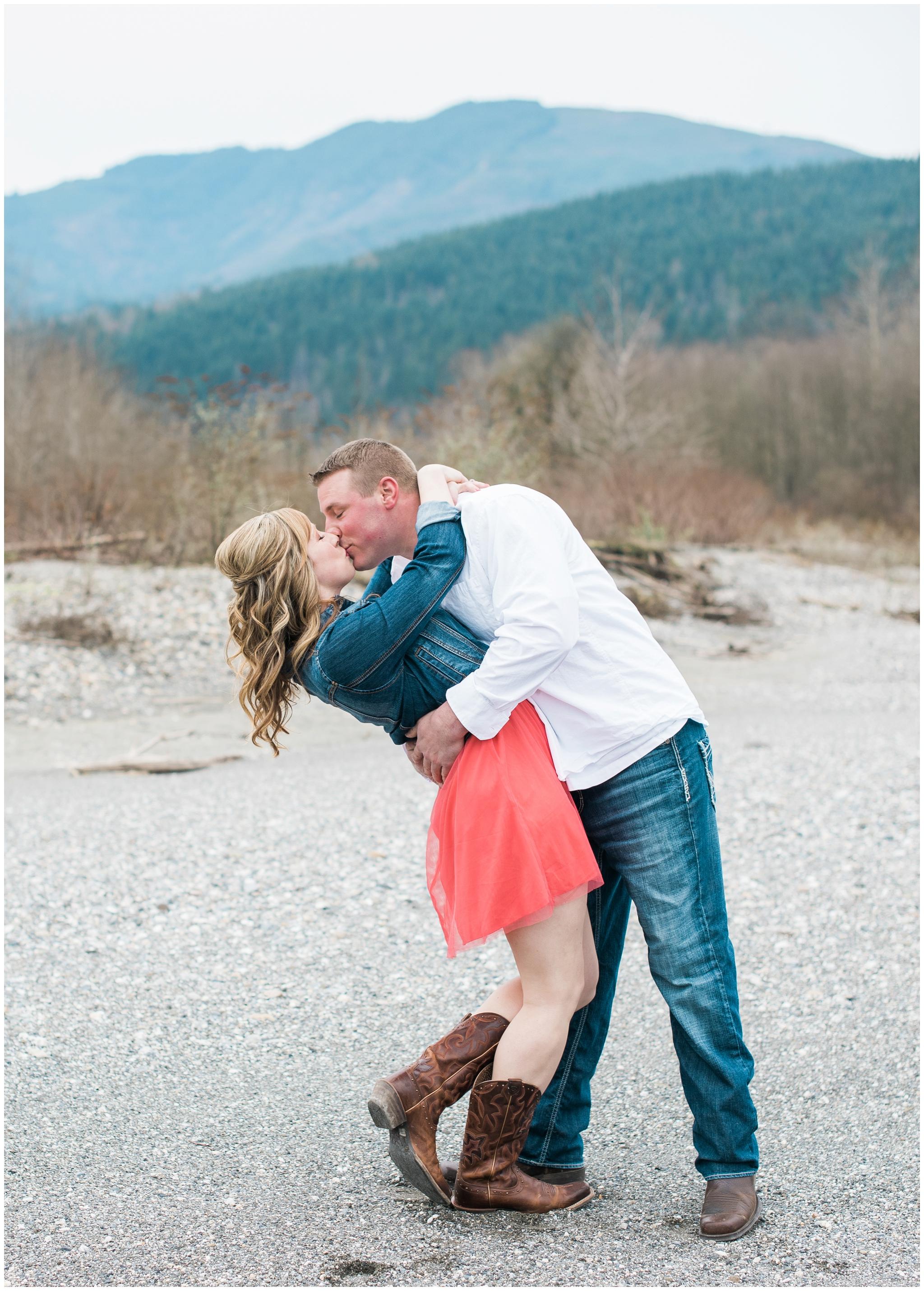 Bellingham river mountain Engagement, B. Jones Photography. Bellingham Wedding Photographer