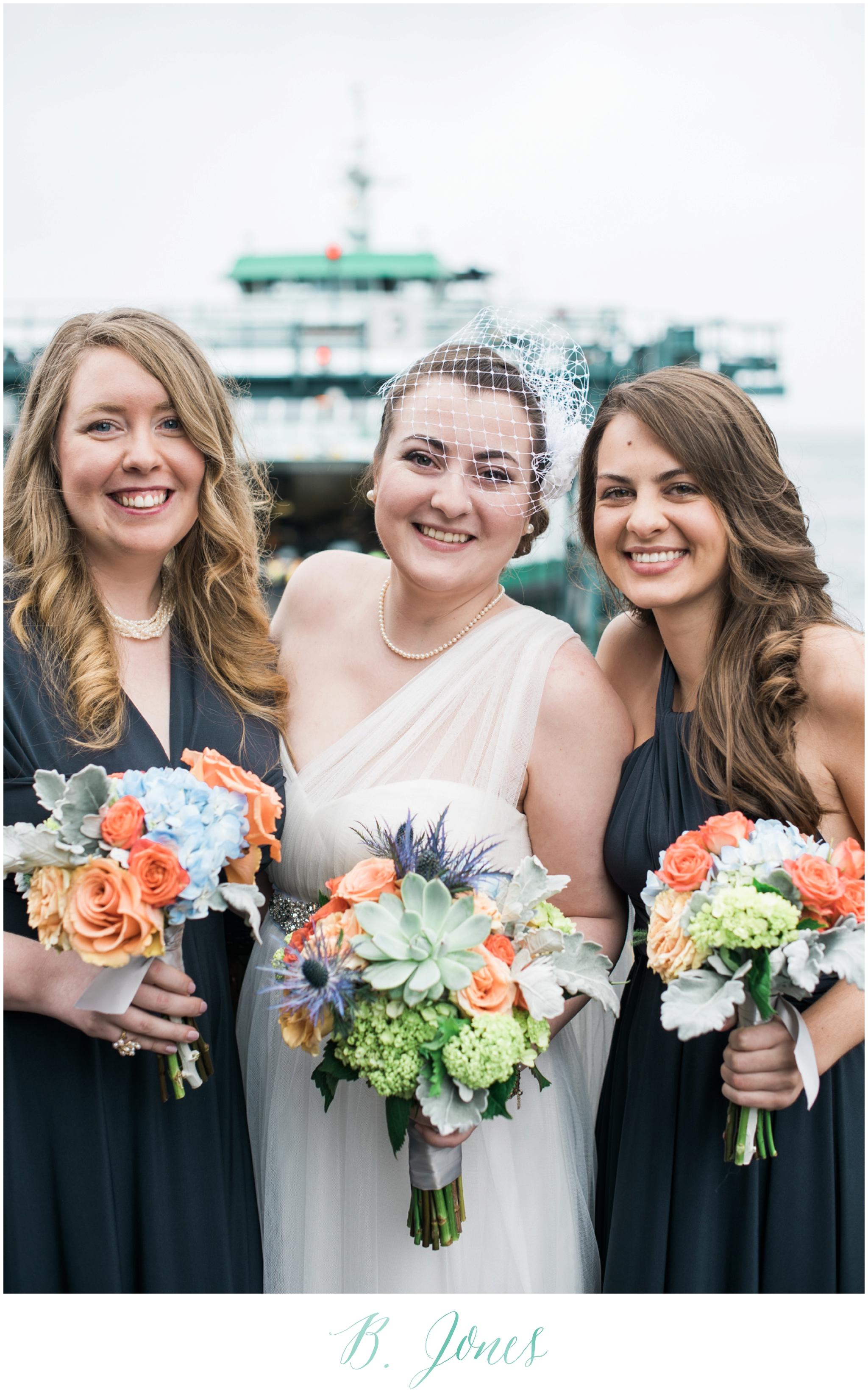 Seattle Ferry Wedding. Piccolino Reception. Seattle Wedding Photographer B. Jones Photography. World Spice Market. Pikes Place Market. Vintage Rolls Royce