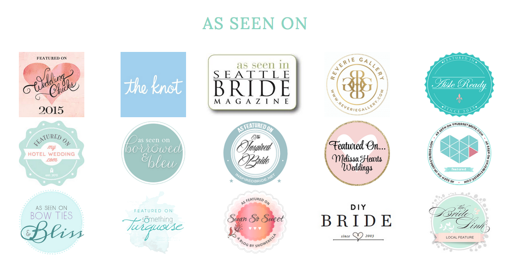 As seen on feature badge- wedding chicks. the knot. seattle wedding photographer, published, award winning