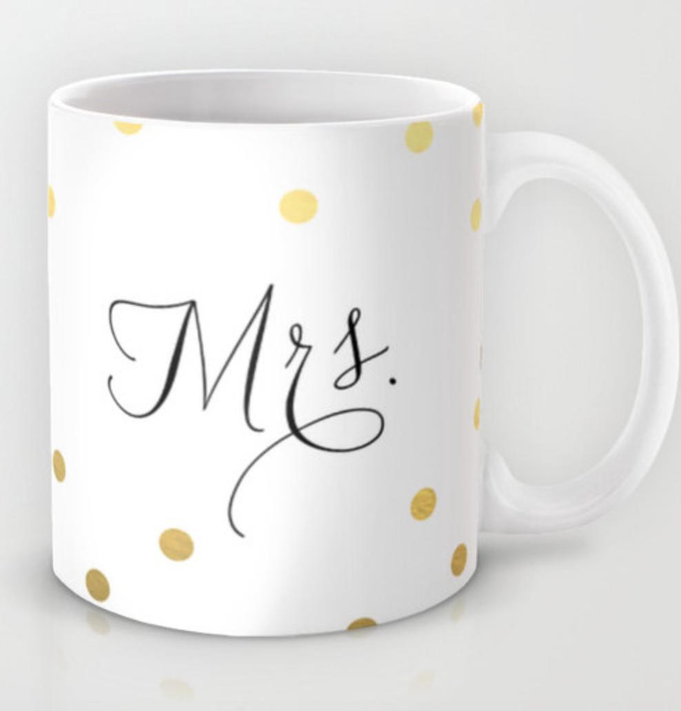 Calligraphy Polka Dot Mrs. Mug