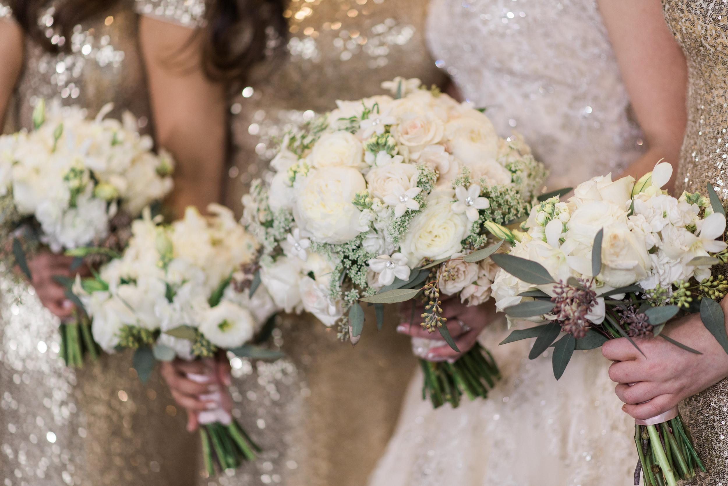 Gold Sequin Bridesmaid dresses. Rosehill Community Center Weddin